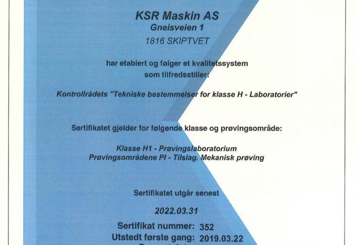 KSR Maskin AS Kontrollrådet sertifikat 352