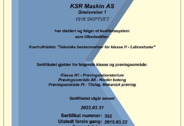 KSR Maskin AS - Kontrollrådet sertifikat 352